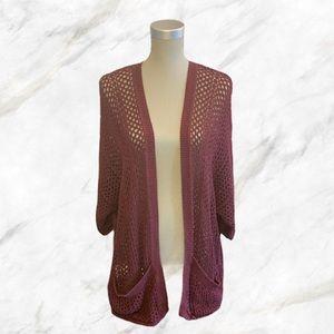 4/$30 🌷Garage | Maroon Crochet Knit Cardigan